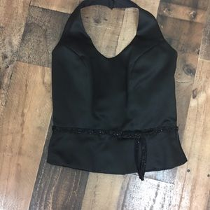 Alexia Designs Black satin halter top